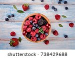 fresh berries in a bowl on blue ... | Shutterstock . vector #738429688