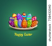 card with easter eggs on plate. ... | Shutterstock . vector #738432040