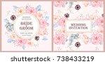Stock vector vintage wedding invitation 738433219