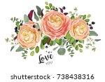 vector floral card design ... | Shutterstock .eps vector #738438316