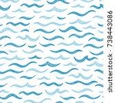 sea waves vector seamless... | Shutterstock .eps vector #738443086