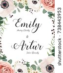 floral wedding invitation ... | Shutterstock .eps vector #738443953
