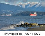 english bay freighters. ... | Shutterstock . vector #738444388