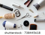 hair tools and hairdressing... | Shutterstock . vector #738445618