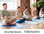 fitness  yoga and healthy... | Shutterstock . vector #738446443