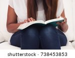 close up girl studying her king ... | Shutterstock . vector #738453853