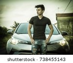 portrait of young man or... | Shutterstock . vector #738455143