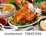 baked turkey with vegetables ... | Shutterstock . vector #738457696