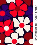 vector seamless flower pattern. ... | Shutterstock .eps vector #738457864