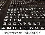 destination board at airport | Shutterstock . vector #738458716