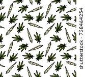 marijuana leaf and spliff ... | Shutterstock .eps vector #738464254