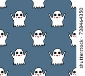 ghost seamless doodle pattern   Shutterstock .eps vector #738464350