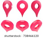 map red pointer 3d | Shutterstock . vector #738466120