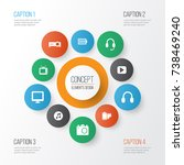 multimedia icons set.... | Shutterstock .eps vector #738469240