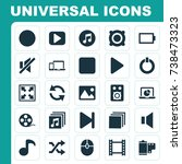 multimedia icons set.... | Shutterstock .eps vector #738473323