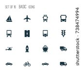 transport icons set. collection ... | Shutterstock .eps vector #738474994