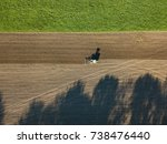 aerial view of tractor on... | Shutterstock . vector #738476440