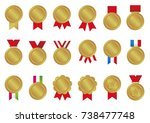 gold medal icon illustration set   Shutterstock .eps vector #738477748