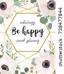 wedding invitation floral... | Shutterstock .eps vector #738477844