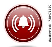 alarm red glossy round web icon....   Shutterstock . vector #738478930