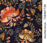 seamless pattern with stylized... | Shutterstock .eps vector #738487738
