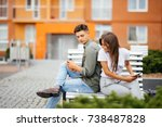 young caucasian couple on date  ... | Shutterstock . vector #738487828