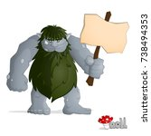 big forest troll of gray from... | Shutterstock .eps vector #738494353