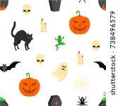 halloween seamless texture | Shutterstock .eps vector #738496579