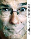 distressed man under censorship ... | Shutterstock . vector #738501400
