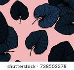 vector tropical palm monstera... | Shutterstock .eps vector #738503278