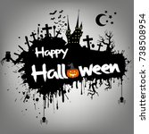banner happy halloween on... | Shutterstock .eps vector #738508954