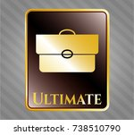 gold badge with briefcase icon ... | Shutterstock .eps vector #738510790