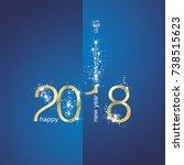 2018 gold new year firework... | Shutterstock .eps vector #738515623