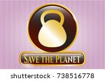 shiny emblem with kettlebell... | Shutterstock .eps vector #738516778