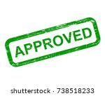 approved stamp  green isolated...   Shutterstock .eps vector #738518233