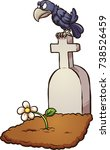 crow sitting on tombstone.... | Shutterstock .eps vector #738526459
