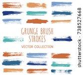 grunge paint brush stroke... | Shutterstock .eps vector #738527668