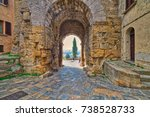 stone arch in street of...