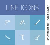 set of 6 editable tools outline ...