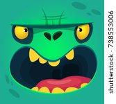 cartoon growling zombie face.... | Shutterstock .eps vector #738553006