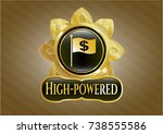 gold emblem or badge with flag ... | Shutterstock .eps vector #738555586