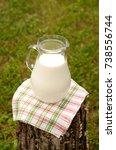 pitcher of milk in the village. ...   Shutterstock . vector #738556744