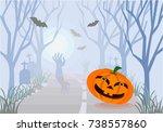 halloween pumpkin on the road  ... | Shutterstock .eps vector #738557860