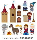 fairytale characters and castle ... | Shutterstock .eps vector #738570958