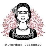 portrait of the beautiful... | Shutterstock .eps vector #738588610