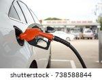 closeup of woman pumping... | Shutterstock . vector #738588844