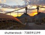 sunset over australian mine ... | Shutterstock . vector #738591199
