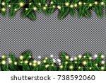 fir branch with neon lights on... | Shutterstock . vector #738592060