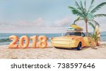 classic yellow car parked by... | Shutterstock . vector #738597646