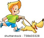 Stock vector a happy boy running together with his dog vector illustration 738603328